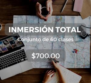 Inmersión total Conjunto de 60 clases $700.00