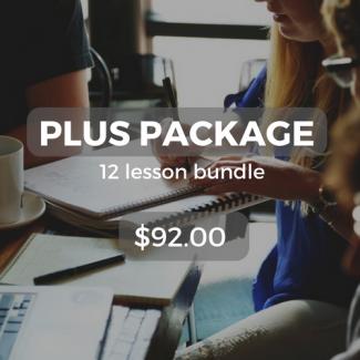 Plus package 12 lesson bundle $92.00