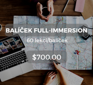 Balíček full-immersion 60 lekcí/balíček $700.00