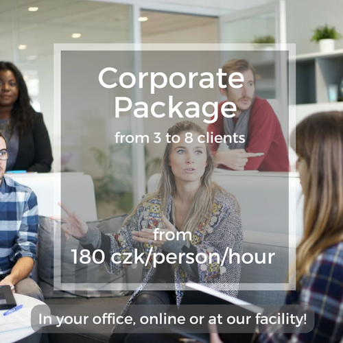 Corporate Package from 3 to 8 clients from 180 czk/person/hour In your office, online or at our facility!